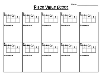 Scoot - Place Value Number Sense