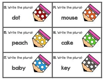 Plural Nouns Scoot Game | Task Cards