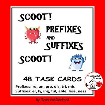 Prefixes - Suffixes REVIEW | Scoot!| Task Cards | Monsters | Gr 4-5 CORE LISTS