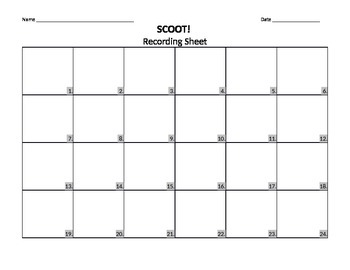 Scoot Recording Sheet