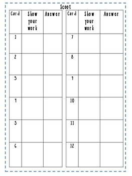 Scoot Recording Sheet - Math