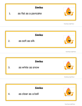 SIMILES   PRACTICE Nouns and Adjectives   Game Task Cards   Scoot!   Gr 3-4 CORE