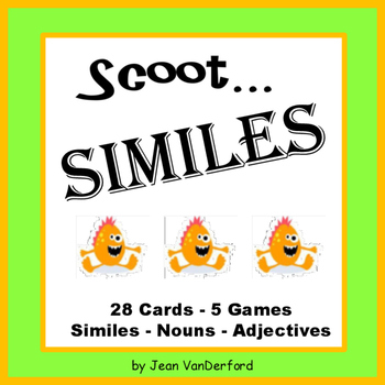 SIMILES | PRACTICE Nouns and Adjectives | Game Task Cards | Scoot! | Gr 3-4 CORE