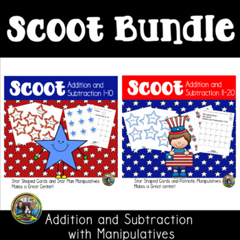 4th of July Math Scoot Game Bundle for Addition and Subtra