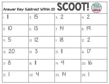 Scoot: Subtract Within 20 Word Problems