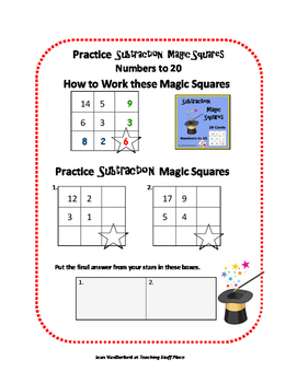 SUBTRACT to 20 |  Self-Checking | MAGIC SQUARES | TASK CARDS | MATH Gr 2