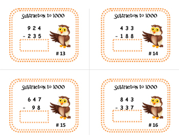 Subtraction to 1000 | TASK CARDS | with/without Regrouping | Gr. 3-5 MATH
