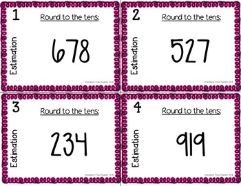 Estimation Scoot Game/Task Cards - Rounding to the Tens