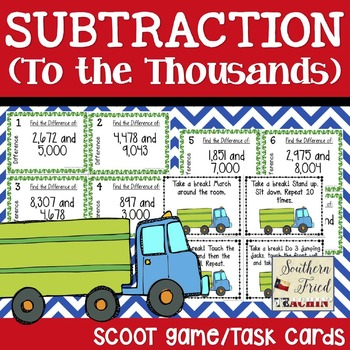 Subtraction Scoot Game/Task Cards (To the Thousands)