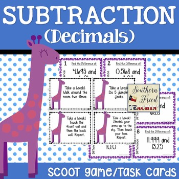 Subtraction Decimals Scoot Game/Task Cards
