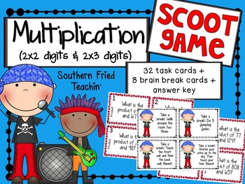 Multiplication 2x2 & 2x3 Digits Scoot Game/Task Cards
