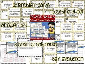 Place Value Scoot Game/Task Cards (Word Form Decimals)