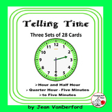 TELL TIME | Hour, Half-Hour, Quarter Hour, Five Minutes |Task Cards|Gr. 2-3 MATH
