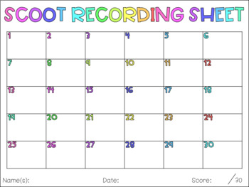 Scoot Template (Recording Sheets, Cards & Answers)
