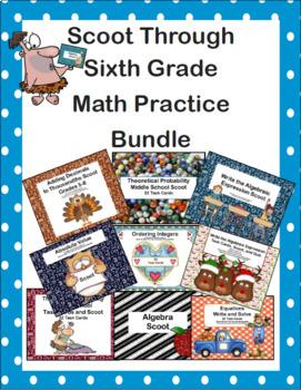 Scoot Through Sixth Grade Math Practice Bundle