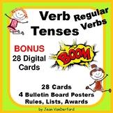 REGULAR VERB TENSES | Task Cards ... BONUS DIGITAL CARDS | NO PREP | Gr 3-4