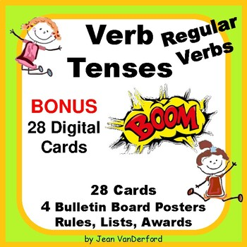 REGULAR VERB TENSES | SCOOT | REVIEW | Task Cards | NO PRE