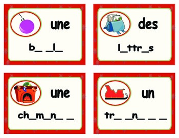 French Task Card - Cartes à tâches Vocabulaire de Noël - Les voyelles