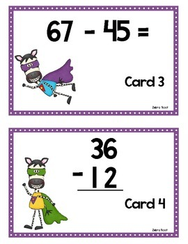 Scoot - Zebra Scoot & more... Subtraction without regrouping