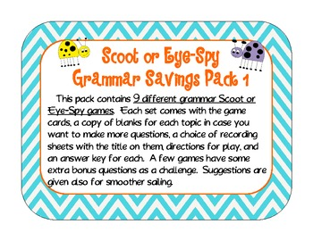 Scoot and Eye-Spy Grammar Savings Pack 1