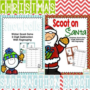 Christmas Math: Subtraction Scoot Games with Regrouping