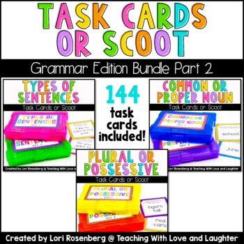 Scoot or Task Card Bundle Pack: Grammar Edition Part 2 (3 Games)