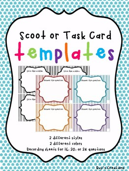 Scoot or Task Card Template