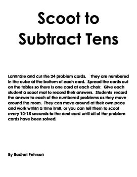 Scoot to Subtract Tens