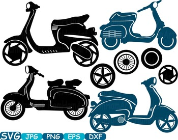 Scooters Silhouette clipart Motorbike Monogram Motorcycle