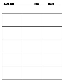 Scope and Sequence Plan Page template for Math  Common Core