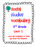 3rd Grade Scope and Sequence Social Studies Vocabulary Unit 1