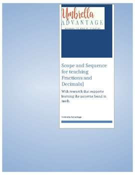 Scope and Sequence for Fraction and Decimal Instruction