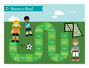 Score a Goal CVCe, oa, long ow Phonics Game - Words Their Way Game