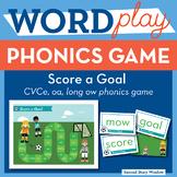 Score a Goal long vowel o CVCe, oa, ow Phonics Game - Word