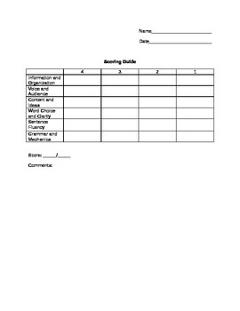 Scoring Guide Template - English Language Arts