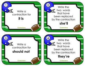 Scoring with Contractions - Football Task Cards