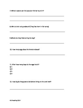 Scorpion Fish - review article questions vocabulary information facts