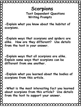 Scorpions Freebie| Differentiated Texts | Nonfiction Close Reading