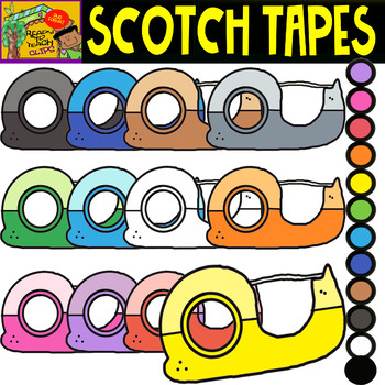 Scotch Tape - School Supplies - Cliparts set - 12 Items