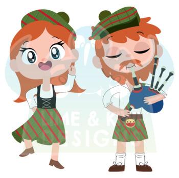 Scotland Clipart, Instant Download Vector Art, Commercial Use Clip Art, Cute