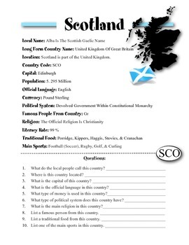Scotland Information & Worksheet