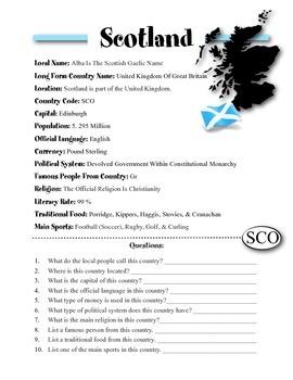 Scotland Information & Worksheet