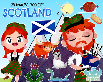 Scotland Watercolor Clipart, Instant Download Vector Art, Commercial Use