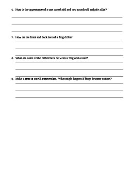 """Scott Foresman Comprehension Questions (for Gail Gibbons """"Frogs"""")"""