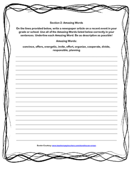 Scott-Foresman Coyote School News Vocab and Amazing Words Quiz
