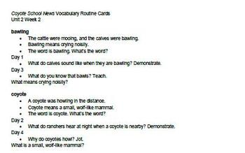 "Scott Foresman ""Coyote School News"" Vocabulary Routine Cards"