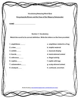 Scott-Foresman Encyclopedia Brown Vocab and Amazing Words Quiz