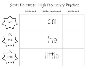 Scott Foresman High Frequency Words