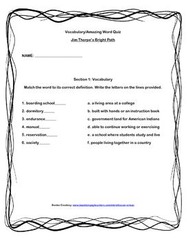 Scott-Foresman Jim Thorpe's Bright Path Vocab and Amazing Words Quiz