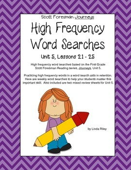 Scott Foresman Journeys High Frequency Word Searches Unit 5